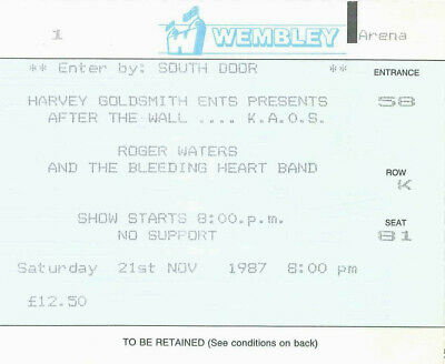 Pink Floyd - Roger Waters Ticket Tour 1987 Wembley