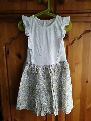 Girls Age 5-6 Years Next White & Yellow Floral Cotton Dress