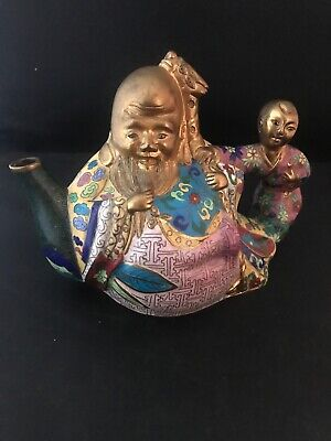Ornate Figural Chinese Cloisonne Teapot