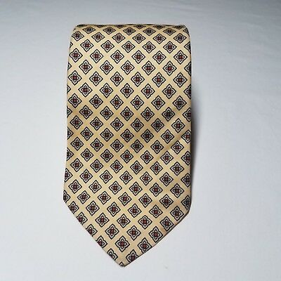 """Vintage Brooks Brothers Gold Red Geometric Silk Tie Size 55"""" x 3 1/4"""""""