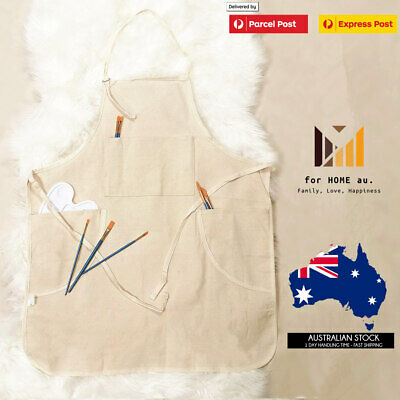 Artists Apron Natural Canvas 3 Brush Pockets cotton Painter Drawing printing