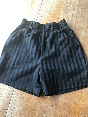 Black School PE Football Shorts 3-4 years Shadow Stripe