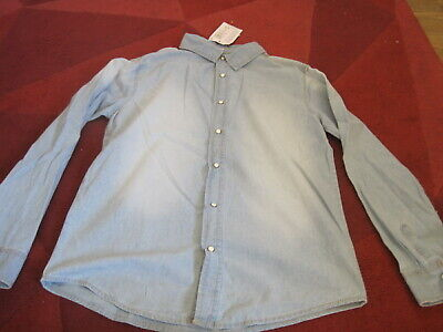 BOYS  BLUE DENIM  SHIRT AGE 11-12 NEW WITH TAG MARKS & SPENCER STUD FASTENINg
