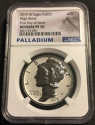 2019W Palladium Eagle Reverse Proof, First Day of Issue, NGC PF 70 .9995 Fine