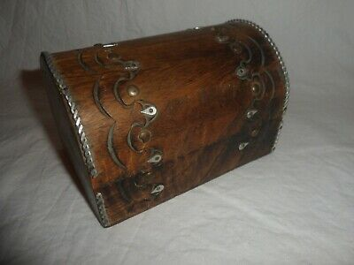 Arts & Crafts Antique Style Wooden Trinket Box With Metal Fixtures