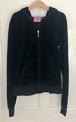 JUICY COUTURE Girls' Black Hooded Sweatshirt-Size Small-VGC