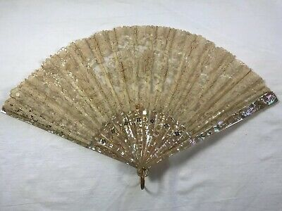"""10"""" Antique Chinese Export Hand Painted Lace Mother Of Pearl Brise Fan."""