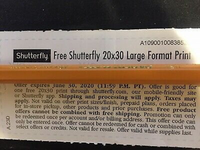 Shutterfly 20x30 Large Format Print Code Monopoly Ticket AB4B -  Expire 06/30/20