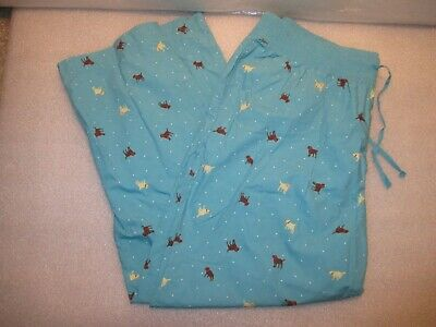 LL Bean Womens XL Lounge Sleep Pants Turquoise Blue With Dogs Pull Up Crops
