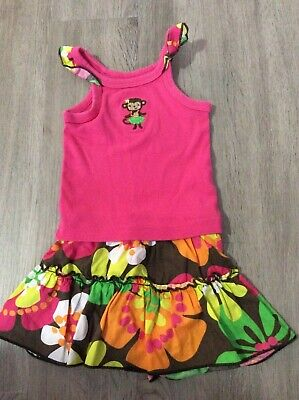 Carters 6 month summer/spring Hawaiian hula monkey 2 piece outfit set
