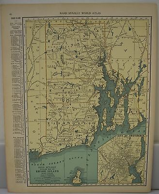 Antique 1929 Large Map Of RHODE ISLAND Collectible Frameable State Memorabilia