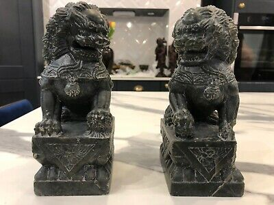 Antique Chinese Soapstone Pair Of Foo Lions Shi Shi Dogs