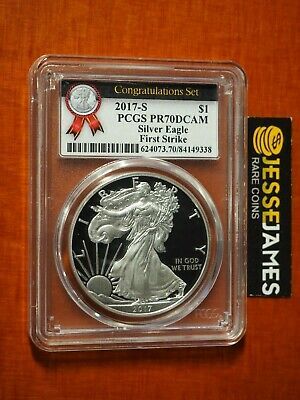 2017 S Proof Silver Eagle Pcgs Pr70 Dcam First Strike From Congratulations Set