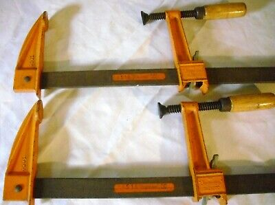 "Pair Of Early Antique/ Vintage Heavy Duty Jorgensen #4518 Bar Clamps - 5"" Depth"