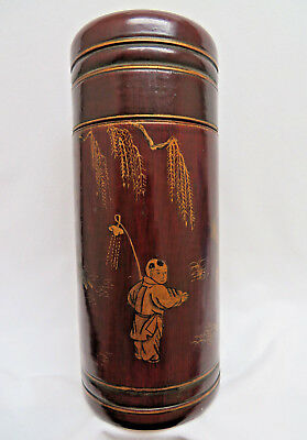 Antique Signed Chinese Lacquer on Bamboo Document Presentation Box