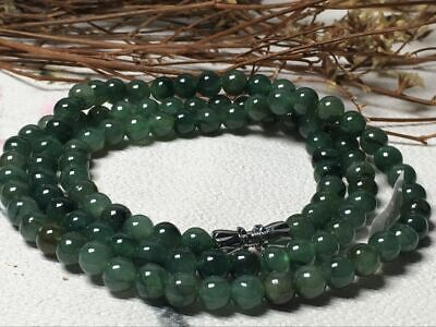 5.5mm 100% Natural A Oil Green Emerald Jade Beads ~Necklace Have certificate1109