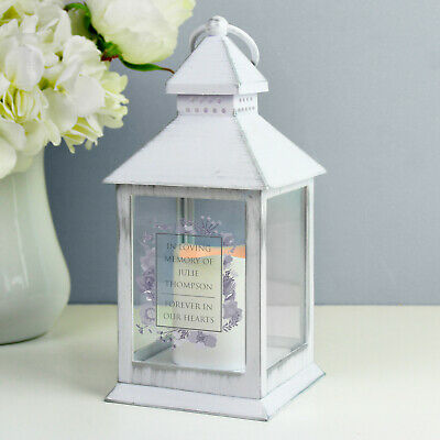 Personalised White Battery Powered Memorial Candle Lantern In Loving Memory Gift