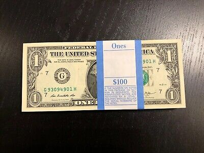 100 New Uncirculated $1 Dollar Bills 2013 Series of Sequential Collectible