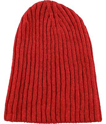 Tags Weekly Womens Solid Ribbed Beanie Hat, Red, One Size