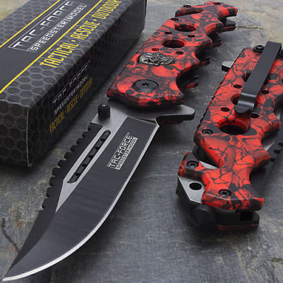 """8.25"""" RED SKULLS ASSISTED OPEN TACTICAL FOLDING KNIFE Pocket Blade Assist Switch"""