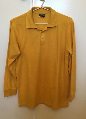 Yellow/Gold Polo Long Sleeved School Top, Size 14, Good Condition