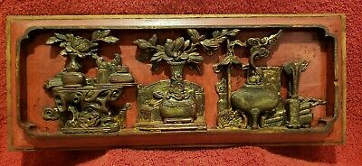 Antique Chinese Deep Carved Wood Wall Hanging