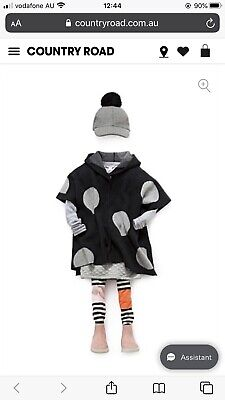NWT Country Road Girls Woollen Spot Hooded Cape Poncho Jumper Size Small S