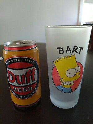 The Simpsons Duff Beer Can (unopened) & Bart Frosted Glass
