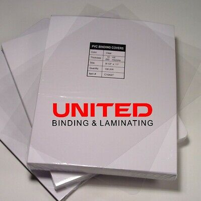 """10 Mil Premium Crystal Clear Covers 8.5"""" x 11"""" PVC Binding Report Covers - 100pk"""