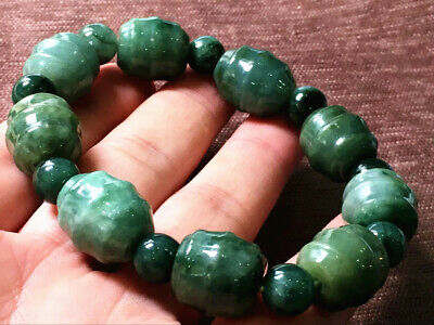 Chinese Exquisite Handmade Carving jadeite jade beads Bracelet certified2562
