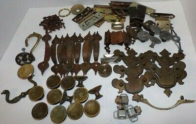 Lot Hardware Brass Copper Metal Japan Vintage Drawer Pulls Knobs Brackets Screws