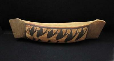 Vintage Australian Aboriginal Hand Carved Painted Canoe Boat Sculpture / Bowl