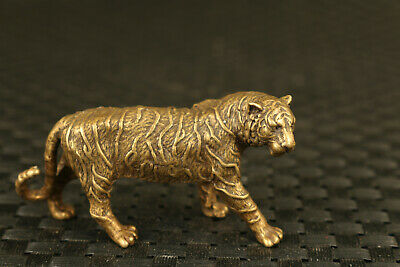 Rare chinese old bronze hand carving tiger statue collectable figure noble gift