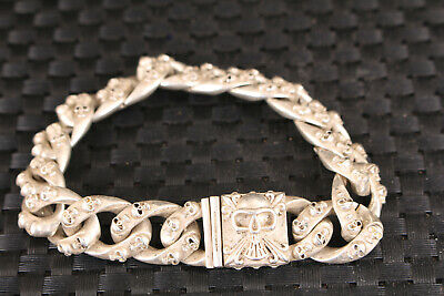 chinese old tibet silver hand carving skull Statue bracelet cool man jewel gift