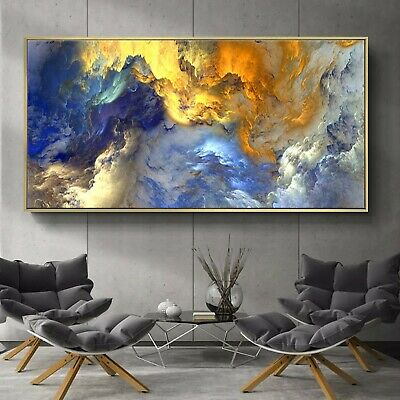 """Abstract Art Multi Color Oil Painting Silk Canvas Poster Decor Unframed 32""""x16"""""""
