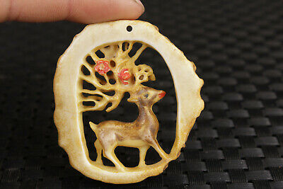 chinese old deer horn hand carved deer netsuke collectable antique art