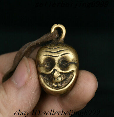 Old Chinese Dynasty Palace Bronze Human skeleton Head human Skull Pendant Statue