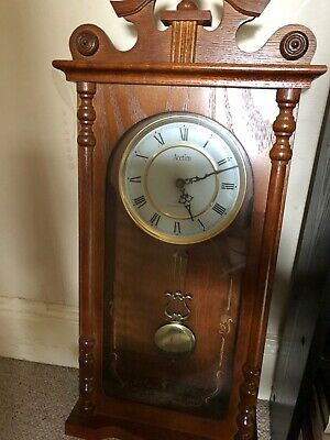 Vintage Emperor Wooden Wall Clock, Oak Wood, With Pendulum, No Chimes
