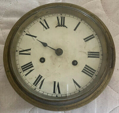 Vintage Antique Victorian Brass Bevelled Glass Ansonia Wall Clock School Factory