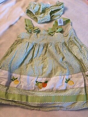 Used Gymboree Girls 18-24 Mo Seersucker Citrus Embroidered Lined Green Diaper Co