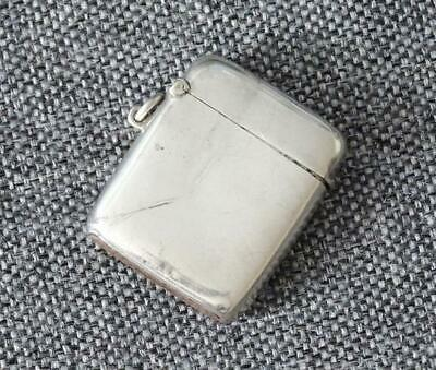 LARGE ANTIQUE 19th CENTURY 1886 STERLING SILVER VESTA CASE WITH RUBBER STRIKER