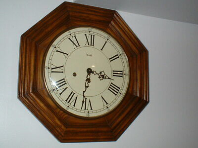 Trend Gallery Wall Clock Oak 8 Day Key Wind Hermle Westminster Chime Serviced