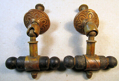 Antique Escutcheon Drop Pull Victorian Salvaged Drawer Cabinet Tee Handle RARE 2