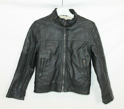 RJR John Rocha Boys Black Faux Leather Fur Lined Racing Biker Jacket age 5-6
