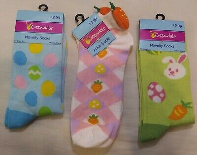 Womens / Girls Easter Ankle Crew Socks 3 Pairs Bunnies Eggs Carrots Size 9-11