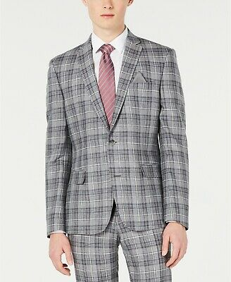 $275 Bar III Men's Slim Fit Linen Gray Plaid Sport Coat Jacket 42R