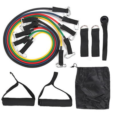 11 Resistance Band Piece Set 100 Pound Workout Elastic Rubber Home Gym Fitness