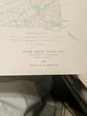 USC&GS,USGS,TVA Quadrangle Map Of Fork Ridge Tennessee/KY 1947 Revised 1959