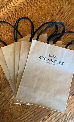 "Lot of 5 COACH NEW YORK Brown Paper Small Shopping Bags Bags 10/"" x 8/"""