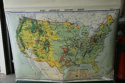 "USA RESOURCES & CONSERVATION map 1937 43"" political wall color cloth vintage"
